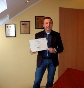 Dyplom odebrał Prezes - pan Marek Humiński